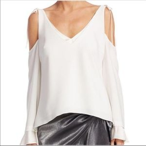 NWT Cinq a Sept Silk White Top sleeveless XS
